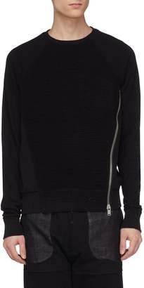 SIKI IM / DEN IM Side zip waffle knit panel sweatshirt