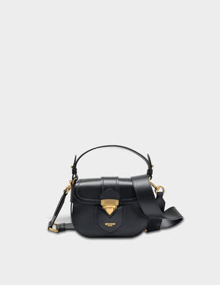 Moschino Hidden Lock Small Shoulder Bag in Black Calfskin