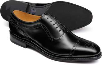 Charles Tyrwhitt Black Goodyear Welted Oxford Brogue Rubber Sole Shoe Size 8.5