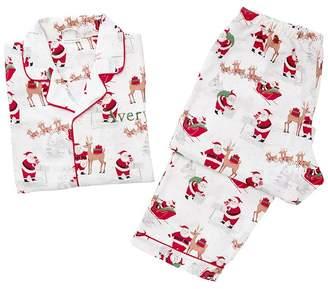Pottery Barn Kids Adult Heritage Santa Flannel Pajama, Small