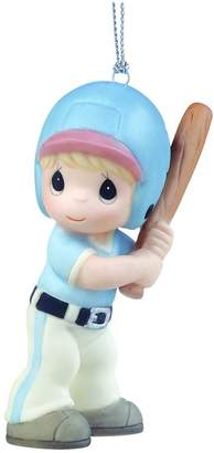 "Precious Moments Precious Moments, Christmas Gifts, ""Little Slugger"", Porcelain Baseball Player Ornament, Boy"