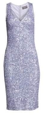 Theia Women's V-Neck Crunchy Sequin Cocktail Dress - Lavender - Size 2