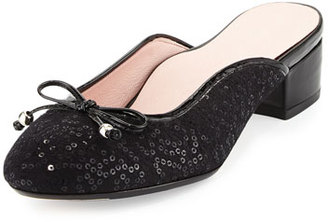 Taryn Rose Faigel Sequin-Embellished Mule, Black $140 thestylecure.com