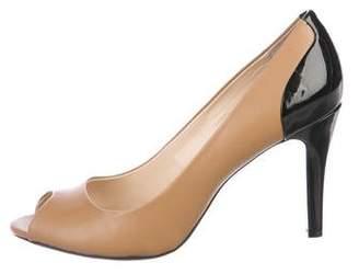 Calvin Klein Leather Peep-Toe Pumps