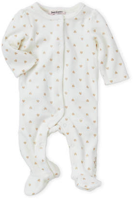 Juicy Couture Newborn Girls) Ivory Glitter Hearts Velour Footie