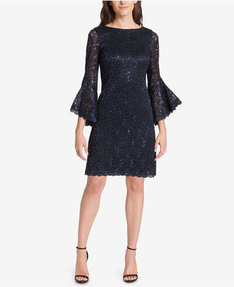 Jessica Howard Petite Bell-Sleeve Sequined Lace Dress