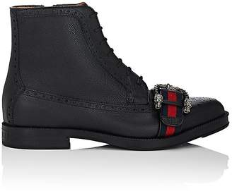 Gucci Men's Web-Striped Leather Brogue Boots