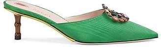 Gucci Women's Embellished-Logo Moiré Mules - Green