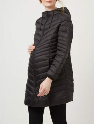 George Maternity Black Longline Lightweight Quilted Coat