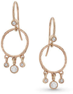 Dominique Cohen 18k Rose Gold Diamond Hoop Drop Fringe Earrings