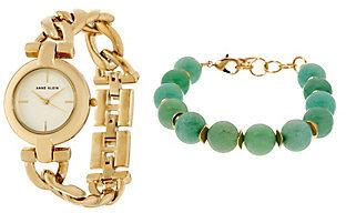 Anne KleinAnne Klein Goldtone Watch and Jade Green Bead Bracelet Set