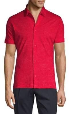 Linen Print Short Sleeve Sport Shirt