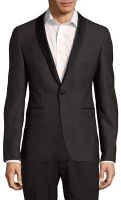 Sand Slim-Fit Wool Shawl Collar Evening Jacket