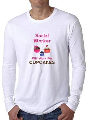 Thread Social Hollywood Worker Will Work For Cupcakes - Hilarious Men's Long Sleeve T-Shirt