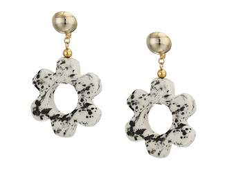 Kenneth Jay Lane 2.5 Gold Ball Top with White and Black Ceramic Open Flower Drop Clip Earrings