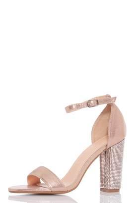 Quiz Rose Gold Satin Diamante Sandals