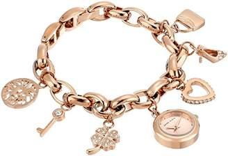 Anne Klein Women's Swarovski Crystal Accented -Tone Charm Bracelet Watch