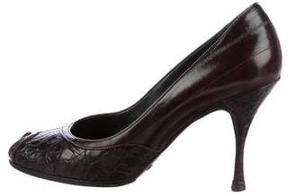 Dolce & Gabbana Crocodile Peep-Toe Pumps