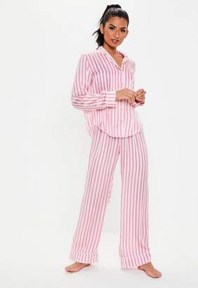 Missguided Tall Pink Satin Stripe Trouser Pyjama Set