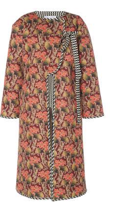 Oscar de la Renta Double Faced Printed Shawl Collar Coat