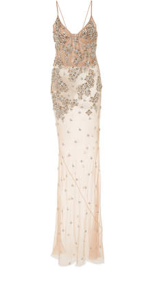 Jason Wu Collection Crystal-Embroidered Silk Slip Dress