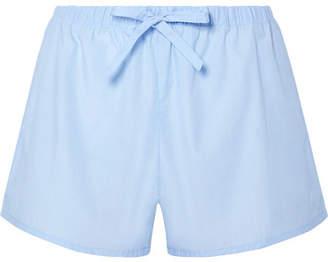 Sleepy Jones Paloma Cotton-poplin Pajama Shorts - Light blue
