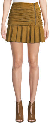 Contemporary Designer Weston Ruched Leather Mini Skirt, Tan