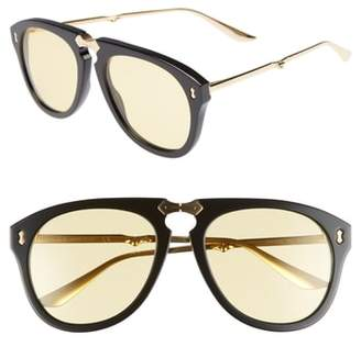 Gucci Big Rivets 56mm Aviator Sunglasses