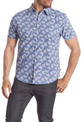 SAVILE ROW CO Butterfly Print Short Sleeve Slim Fit Shirt