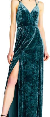 Aidan Mattox Velvet Wrap Dress