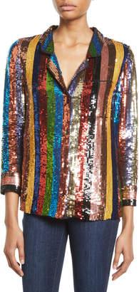 Alice + Olivia Keir Sequin Embellished Pajama-Style Top