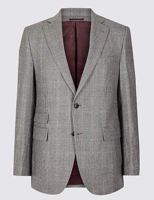 Marks and Spencer Checked Tailored Fit Wool Jacket