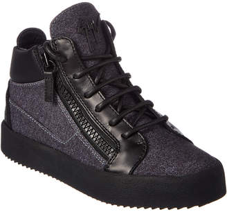 Giuseppe Zanotti Flannel & Leather High-Top Sneaker