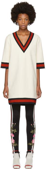 Gucci Off-White Stretch Viscose Web Dress