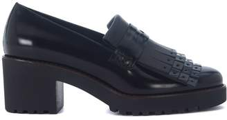 Hogan H277 Black Leather Heeled Loafers