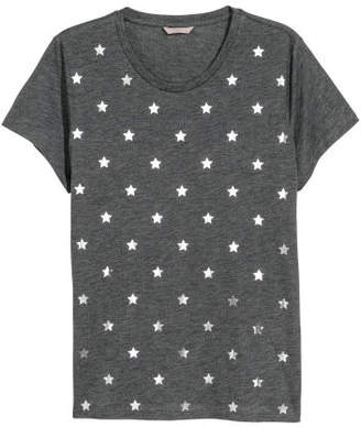 H&M H&M+ Printed Jersey Top - Gray