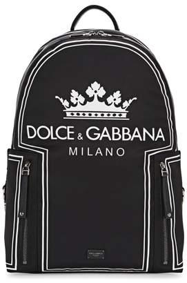 Dolce & Gabbana Vulcano Black Printed Nylon Backpack