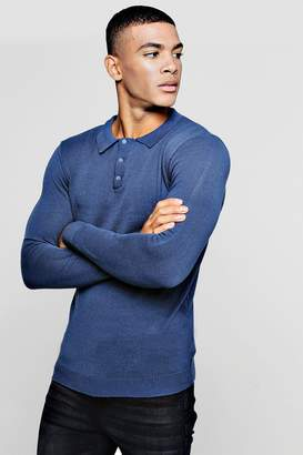 boohoo Muscle Fit Long Sleeved Knitted Polo
