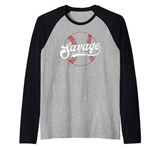 Savage in the Box Funny Baseball Saying Raglan Baseball Tee