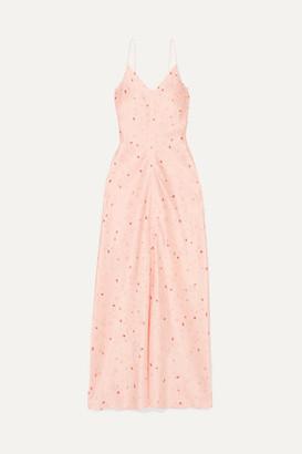 Ganni Floral-print Silk-blend Satin Maxi Dress - Pastel pink