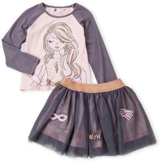 Pl Kids (Toddler Girls) Two-Piece Mighty Girl Tee & Tutu Skirt