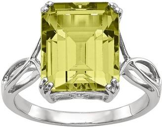 Sterling Octagon Shaped Gemstone Ring