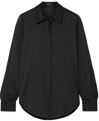 Theory Sunaya Stretch-silk Shirt - Black