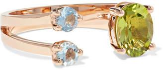 Delfina Delettrez 18-karat Rose Gold, Peridot And Aquamarine Ring