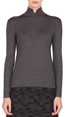 Akris Mock-Neck Long-Sleeve Cashmere-Silk Knit Pullover Sweater