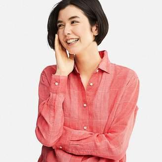 Uniqlo Women's Premium Linen Checked Long-sleeve Shirt