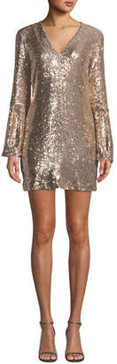 Nanette Lepore Sestina Sequin Long-Sleeve Mini Dress