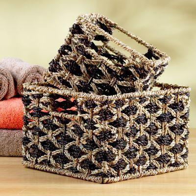 Natural Ethnic Print Seagrass Basket