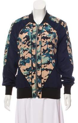 Rebecca Minkoff Silk Camouflage Patterned Jacket