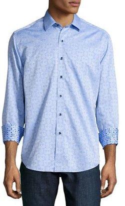 Robert Graham Cullen Jacquard Long-Sleeve Sport Shirt, Light Blue $188 thestylecure.com